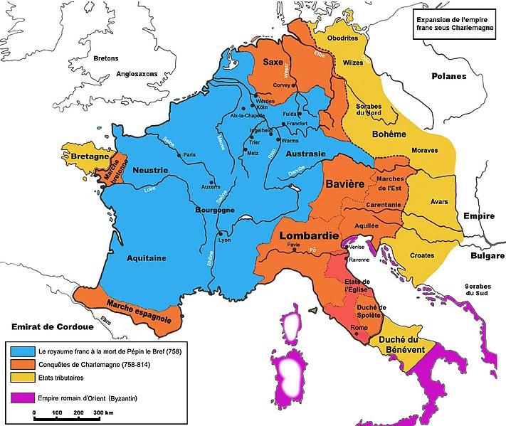 expansion du royaume carolingien à son maximum